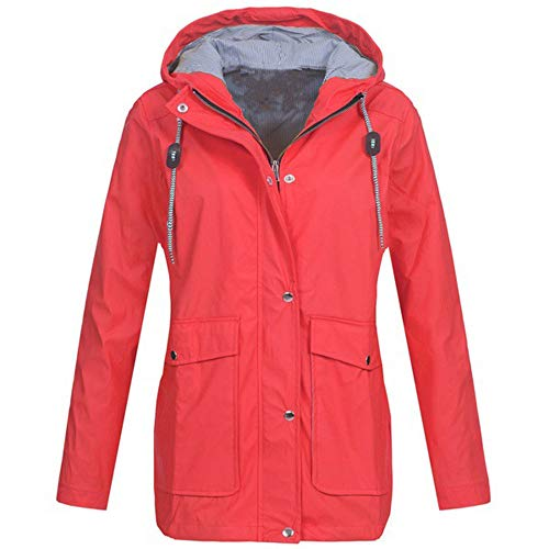 COPPEN Windproof Solid Rain Jacket Outdoor Waterproof Plus Jackets Hooded Raincoat