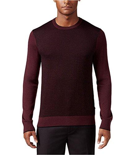 Michael Kors Mens Colorblocked Herringbone Pullover Sweater Burgundy - Michael Returns Kors
