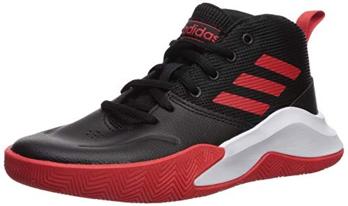adidas Unisex OwnTheGame Wide Basketball Shoe, Black/Active Red/White, 7 W US Big Kid