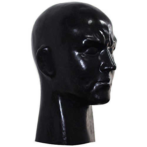 [EXLATEX Latex Rubber Hood Full Head Face Cosplay Fetish Beauty Mask with Zipper (Male, Black)] (Costume Wonder Woman Ebay)