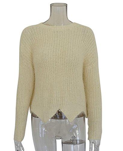Autunno Casual Collo Lunga Jumpers JackenLOVE Donna Sweater e Felpa Inverno Irregolare a Rotondo Maglieria Beige Manica Cime Moda Maglione Tops Bluse Pullover 5qFw6q7