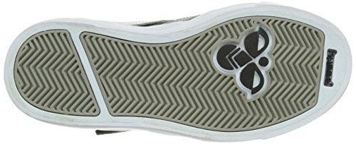 hummel STADIL JR. VELCRO HIGH 63-676-2640 - Zapatillas de deporte de cuero para niños Black/White/Grey 2072