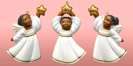 African American Cherub Variety Christmas Ornament Set II (Set of 3)