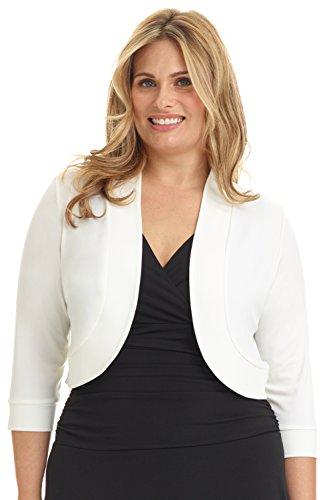 Wedding White Curves - Rekucci Women's Curvy Fit Plus Size Rounded Hem Stretch Bolero Shrug (3X,Off White)