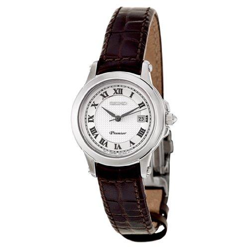 Brown Premier Leather Watch Sxde01p2 White Seiko Strap Women's Dial MUSGVzpq