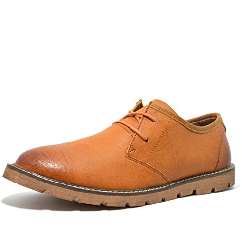 Heart&M retro casual hombres ronda toe zapatos de cuero de corte bajo con cordones Brown