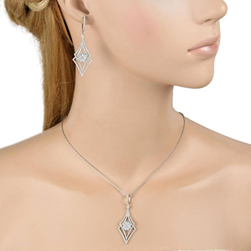 EVER FAITH Silver-Tone Zircon Elegant Double Rhombus Shaped Pendant Necklace Earrings Set Clear by EVER FAITH (Image #1)'