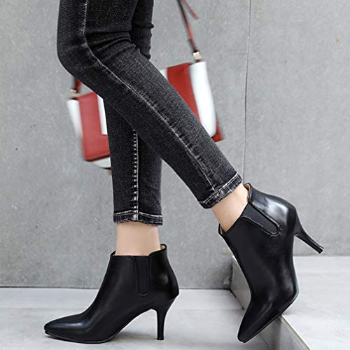 Talon Pointu Effet Classique Hiver Aiguille Cuir Chaussures Noir Femme Oaleen Bottines Boots Enfiler qFwnzZz6t