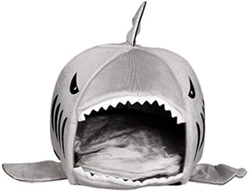 HUIFENG Shark Round House Puppy Bed with Pet Bed Mat