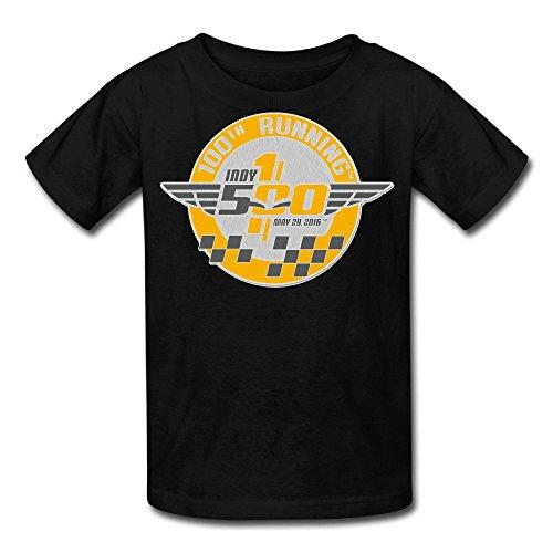 Duola Boys Short Sleeve T-shirt Indy500 Car Racing Size L Black