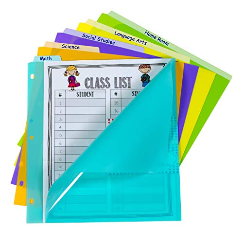 C-Line 5-Tab Poly Index Dividers with Vertical Tab, Bright Color Assortment, 8-1/2