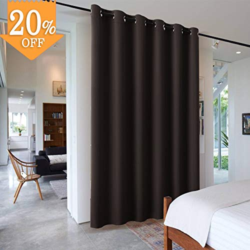 RYB HOME Sliding Hanging Room Dividers, Thermal Insulated Blackout Curtain, Adjustable Large Privacy Separation Screen for Office Patio Glass Door Dinning Living Room, W 10ft x L 9ft, Brown, 1 Pc