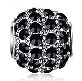 DIY Silver European CZ Charm Black Crystal Spacer Bead Fit Necklace Bracelet