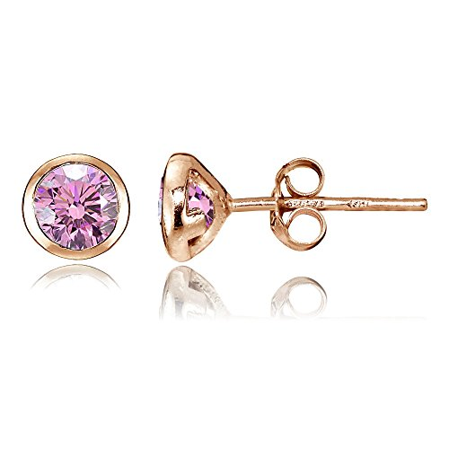 Rose Gold Flash Sterling Silver Pink Cubic Zirconia Bezel Martini Set Stud Earrings