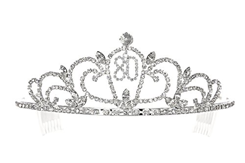 (SAMKY Rhinestone Crystal Birthday Tiara Crown 15/16/18/21/30/40/50/60/70/80th - 80th T1193)