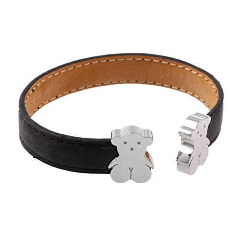 URs Leather Cuff Bracelet For Women with Teddy Bears and Adjustable Open (Lady Teddy Bear)