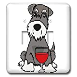 3dRose All Smiles Art - Pets - Cute Funny Miniature Schauzer Puppy Dog Drinking Wine - Light Switch Covers - double toggle switch (lsp_291145_2)