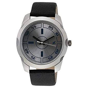 dfb546ab50 Fastrack Bare Basic Men's Silver Dial Leather Band Watch - T3123SL01 ...