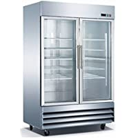 54 2 Door Glass Refrigerator CFD-2RR-G Stainless Steel Trim LED Lighting