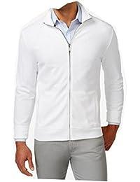 Club Room Long Sleeve Pique Full Zip Jacket, White