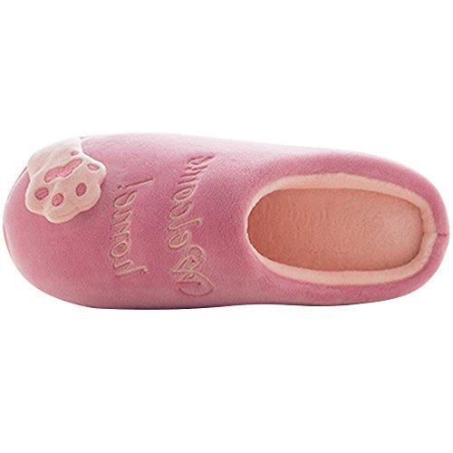 Chaussons JACKSHIBO Lovely Slipper Hiver Chat Pantoufles Doux Pour Femmes Coton Peluche Rouge Chaudes Hommes Yq8SwY