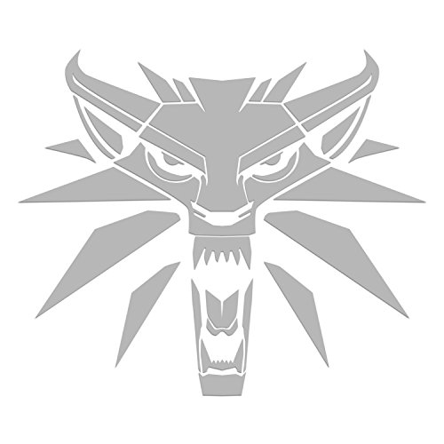 WHITE WOLF LOGO FROM WITCHER VIDEO GAMEVINYL STICKERS SYMBOL 5.5 DECORATIVE DIE CUT DECAL FOR CARS TABLETS LAPTOPS SKATEBOARD - BLACK