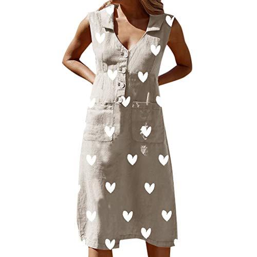 Sunhusing Women's V-Neck Sleeveless Solid Color Small Love Heart Printed Buttons Pocket Patchwork Lapel Dress Khaki