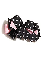 Needybee Baby Girls\' Polka Dot Bow Clip Onesize Pink And Black