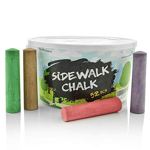 Fat Zebra Designs Sidewalk Chalk Set - Pack of 52 Multi-Color Jumbo Street Chalks - 10 Bright & Cheerful Colors - Nontoxic, Washable Tapered Chalks in a Reusable Plastic Container - 1 x 4 Inches