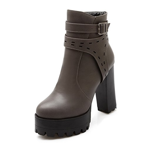 Boots Buckle Platform Leather Gray Chunky Girls 1TO9 Imitated Heels HRv106