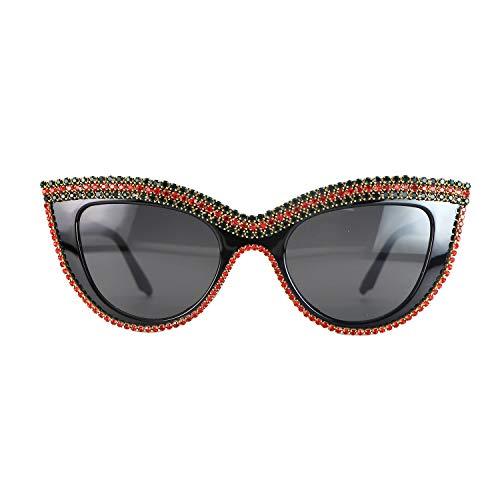 Cat Eye Sunglasses Bling Rhinestones Crystal Black Plastic Frame Eyewear