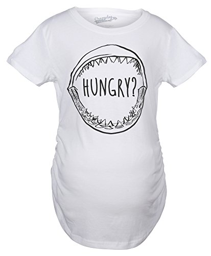 Crazy Dog TShirts - Womens Hungry? Funny Shark Jaws Cool Great White Beach Foodie T shirt - Camiseta Para Mujer
