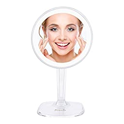 """KEDSUM 7.3-inch Rechargeable 5X Magnification LED Lighted Makeup Mirror with Adjustable Height 12.6-15.7"""", Wireless Cosmetic Mirror Bathroom Mirror, Rotates 360 Degrees"""