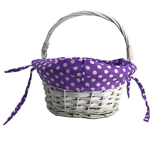 CFP Wicker Easter Gift Basket - Wicker Easter Baskets with Polka Dot Liner, Traditional Kids Easter Gift Basket, Polka Dot Liner Can Be Uninstall and Tie Back for Personalized (Purple Dot)]()
