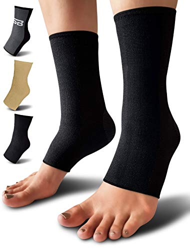 SB SOX Compression Ankle Brace (Pair) - Great Ankle Support That Stays in Place - for Sprained Ankle and Achilles Tendon Support - Perfect Ankle Sleeve for Sports, Any Use (Solid - Black, Medium)