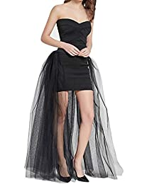 FEOYA Women's Special Occasion Tutu 4 Layers Overlay Floor Length Skirt Sexy Overskirt Wedding Princess Prom Tulle Skirt