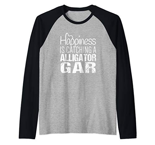 Alligator Gar Shirt | Happiness is Catching Alligator Gar Raglan Baseball Tee