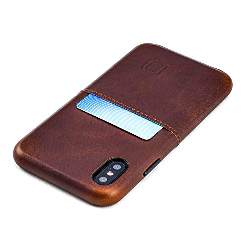 Dockem Virtuosa M1 Wallet Case for iPhone Xs & X; Built-in Metal Plate, Designed for Magnetic Mounting; Ultra Slim Top Grain Genuine Leather Card Case; M-Series [Brown]