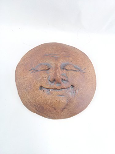 dist by American mud products Aunt Chris' Pottery - Handmade Clay - Primitive Small Man In The Moon Face - Rustic Style - Wall Hanging Plaque - Hand Etched Sculpture - With Twisted Rusty Wire Hanger - Wall Moon Face Art