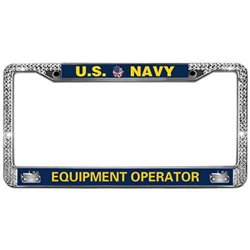 GND United States Navy Metal Sparkle Bling License Plate Frame,US Navy Equipment Operator Diamond License Plate Frame Rhinestone Car License Plate Frame for US Standard