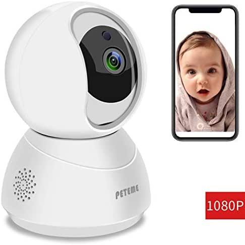 Peteme Baby Monitor 1080P FHD Home WiFi Security Camera Sound/Motion Detection with Night Vision 2-Way Audio Cloud Service Available Monitor Baby/Elder/Pet Compatible with iOS/Android