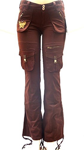 JEANS FOR LOVE Blue Pointe Juniors Womens Stretch Premium Brown Cargo Pants 3054ES (9/10) (Cargo Leggings Capri)