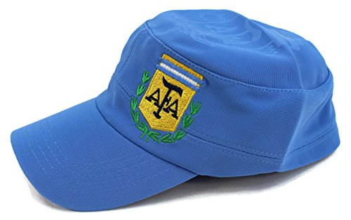 High End Hats World Soccer/Football Team Military Hat Collection Embroidered Flexfit Army Style Cap, Argentina National Football Team, Blue