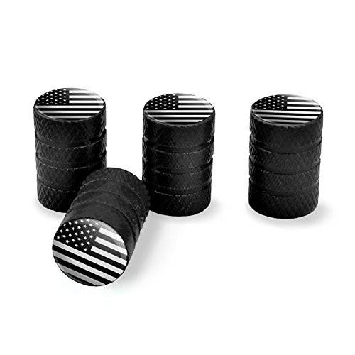 (Subdued American USA Flag Black White Military Tactical Tire Rim Wheel Aluminum Valve Stem Caps - Black)