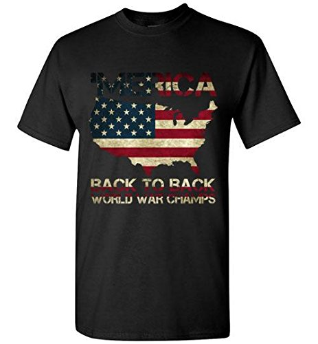 39824f12 Image Unavailable. Image not available for. Color: Merica Back To Back  World War Champ Patriotic 4th July Mens Shirt