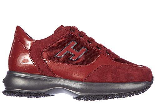Hogan Sneakers Kinder Schuhe Mädchen Leder Turnschuhe interactive bordeaux
