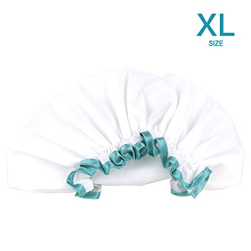 White Shower Cap for Long Hair 1 Pack, Waterproof Mold Resistant Washable Hair Caps for Women and Girls, Super Cute and Extra Large by mikimini by mikimini