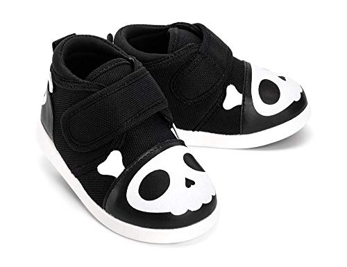 ikiki Skull Squeaky Shoes for Toddlers w/Adjustable Squeaker, Black Girl or Boy Shoes (Size 9, Captain Zuga)