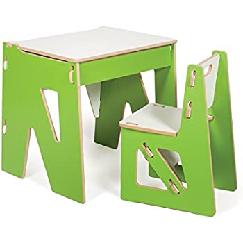 modern kids desk and chair with storage green american made