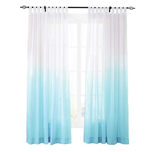 "ChadMade Indoor Outdoor Gradient Ombre Sheer Curtain Tab Top Sky Blue 200"" W X 102"" L, Extra Wide Tulle Gradual Drapes (1 Panel)"